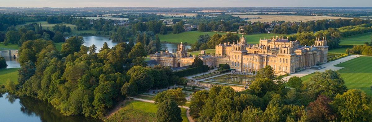 Blenheim-palace-aerial-summer-lake-water-terrace
